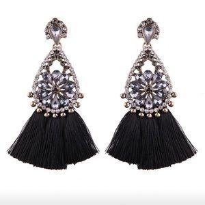 Gray Crystal & Black Fringe Drop Earrings boho